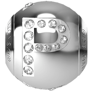 "Swarovski BeCharmed 182201 - 12m Stainless Steel letter ""P"" each"