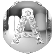 "Swarovski BeCharmed 182201 - 12m Stainless Steel letter ""A"" each"