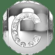 """Swarovski BeCharmed 182201 - 12m Stainless Steel letter """"C"""" each"""