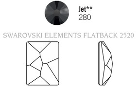 Swarovski 2520# - 10X8mm Jet, MET.SILVER, 144pcs, (22-6) Unfoiled