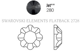 Swarovski 2728# - 34ss Jet, 144pcs, (5-5)