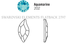Swarovski 2797# - 10x5mm Aquamarine, F, 180pcs, (8-5) Foiled
