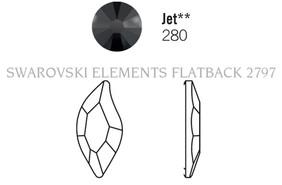 Swarovski 2797# - 10x5mm Jet, M, HF, 180pcs, (6-11)