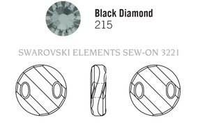 Swarovski 3221# - 28mm Black Diamond, 24pcs, (19-10) Unfoiled