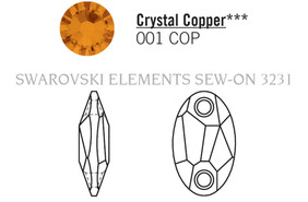 Swarovski 3231# - 28x17mm Crystal, COPPER, 30pcs, (10-11) Unfoiled