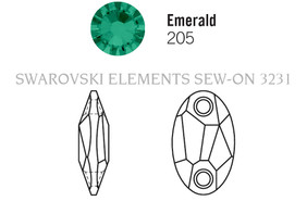 Swarovski 3231# - 28x17mm Emerald, 30pcs, (19-5) Unfoiled