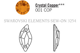 Swarovski 3254# - 3X1.4mm Crystal, COPPER, F, 36pcs, (19-7) Unfoiled