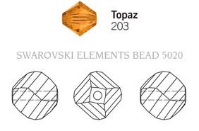 Swarovski 5020# - 8mm Topaz, 288pcs, (23-3)