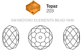Swarovski 5040# - 12mm Topaz, 144pcs, (23-6)