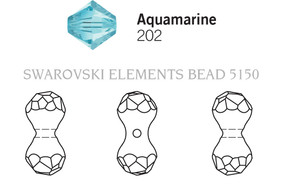 Swarovski 5150# - 11X6mm Aquamarine, 216pcs, (23-2)