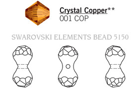 Swarovski 5150# - 15X7mm Crystal, COPPER, 72pcs, (23-1)