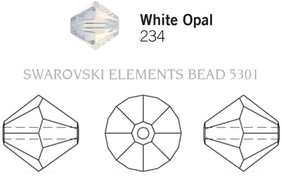 Swarovski 5301# - 3mm White Opal Sky Blue, 1440pcs, (16-4)