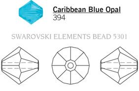 Swarovski 5301# - 6mm Caribbean Blue Opal, 360pcs, (15-2)