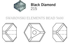 Swarovski 5600# - 4mm Black Diamond, 288pcs, (17-9)