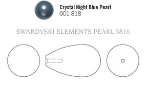 Swarovski 5816# - 11.5x6mm Crystal Night Blue Pearl, 100pcs, (3-2)