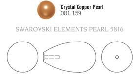 Swarovski 5816# - 11.5x6mm Crystal Pearl, COPPER, 100pcs, (3-2)