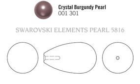 Swarovski 5816# - 15x8mm Crystal Burgundy Pearl, 100pcs, (3-2)
