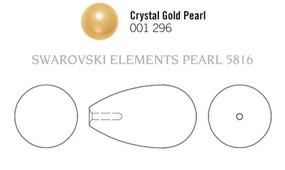 Swarovski 5816# - 15x8mm Crystal Gold Pearl, 100pcs, (3-2)