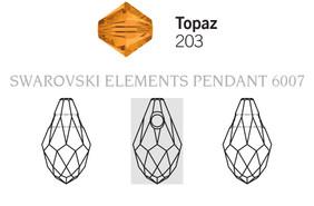 Swarovski 6007# - 9X5mm Topaz, 288pcs, (17-2)