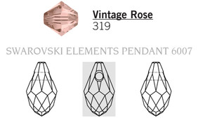 Swarovski 6007# - 9x5mm Vintage Rose, 288pcs, (17-1)