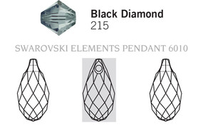 Swarovski 6010# - 11x5.5mm Black Diamond, 144pcs, (11-6)