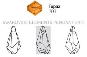 Swarovski 6015# - 17mm Topaz, 72pcs, (17-1)
