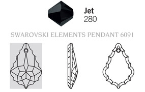 Swarovski 6091# - 38mm Jet, 24pcs, (10-8)