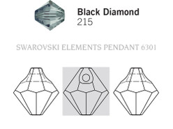Swarovski 6301# - 8mm Black Diamond, 288pcs, (21-5)