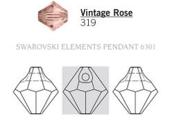 Swarovski 6301# - 8mm Vintage Rose, 288pcs, (21-4)