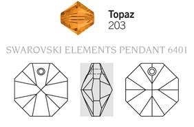 Swarovski 6401# - 14mm Topaz, 72pcs, (21-2)