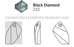 Swarovski 6620# - 20mm Black Diamond, 48pcs, (4-6)