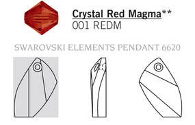 Swarovski 6620# - 40mm Crystal, REDM, 6pcs, (21-1)