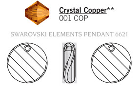 Swarovski 6621# - 18mm Crystal, COPPER, 72pcs, (21-1)