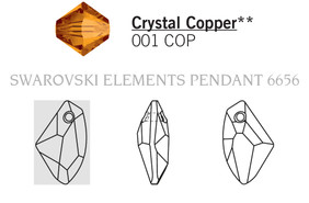 Swarovski 6656# - 27mm Crystal, COPPER, 30pcs, (12-1)