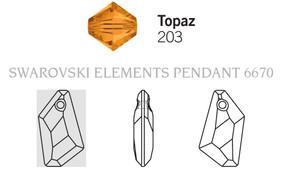Swarovski 6670# - 18mm Topaz, 72pcs, (2-9)