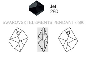 Swarovski 6680# - 14mm Jet, 144pcs, (2-12)