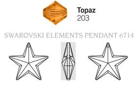 Swarovski 6714# - 40mm Topaz, 6pcs, (2-6)
