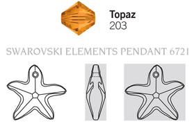 Swarovski 6721# - 16mm Topaz, 72pcs, (2-9)