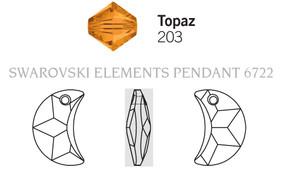 Swarovski 6722# - 16mm Topaz, 72pcs, (6-10)