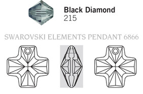 Swarovski 6866# - 20mm Black Diamond, 72pcs, (1-9)
