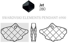 Swarovski 6900# - 13.5x20mm Jet, 72pcs, (1-4)