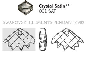 Swarovski 6902# - 16.5x25mm Crystal, SATIN, 30pcs, (3-10)