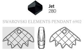 Swarovski 6902# - 16.5x25mm Jet, 30pcs, (1-1)