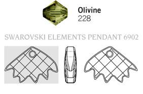 Swarovski 6902# - 16.5x25mm Olivine, 30pcs, (3-8)