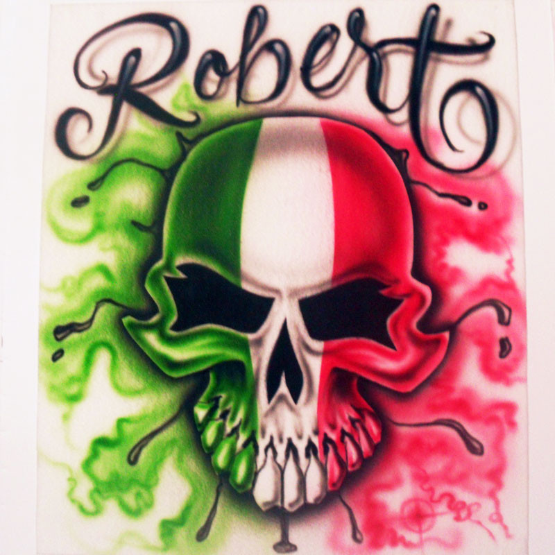 Mexican Flag Skull Mexican Flag Skull Airbrush