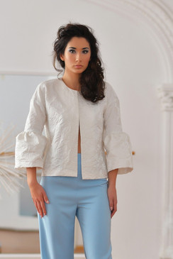 Cassiopeia Jacket (White Brocade Bell Sleeve Jacket)
