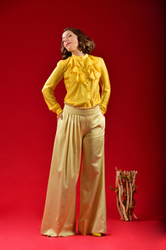 Believe Pants (Wide Leg Silk-blend Pants)