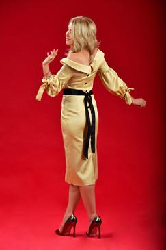 Aspire Dress (Asymmetrical Shoulders Silk-blend Dress)