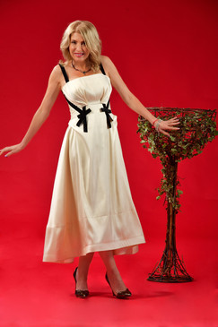 Glow Dress (Cream Shantung Midi Dress)