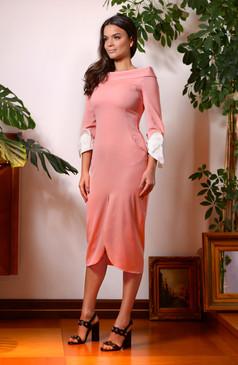 Comma Dress (Wide Neck Tube Dress with Silk Cuffs)